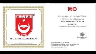 100. Yılında MTTB'liler 50. Dönem Genel Başkanı Muhterem Ömer Öztürk ile Buluşuyor